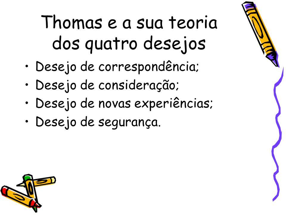 Thomas e a sua teoria dos quatro desejos Desejo de correspondência; Desejo de consideração; Desejo de novas experiências; Desejo de segurança.