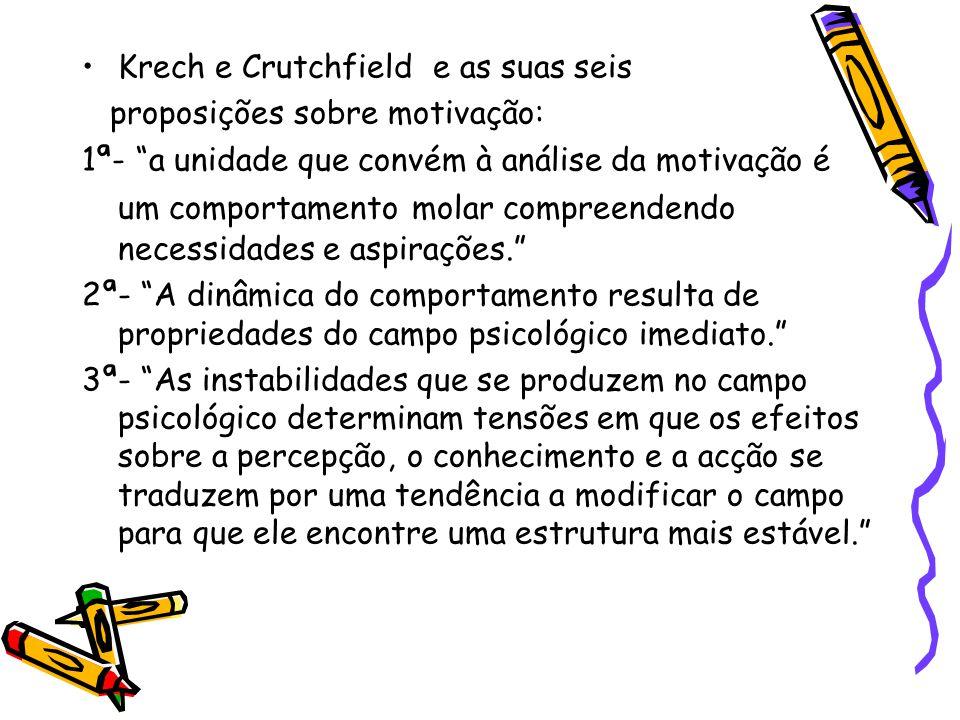 """Krech e Crutchfield e as suas seis proposições sobre motivação: 1ª- """"a unidade que convém à análise da motivação é um comportamento molar compreendend"""