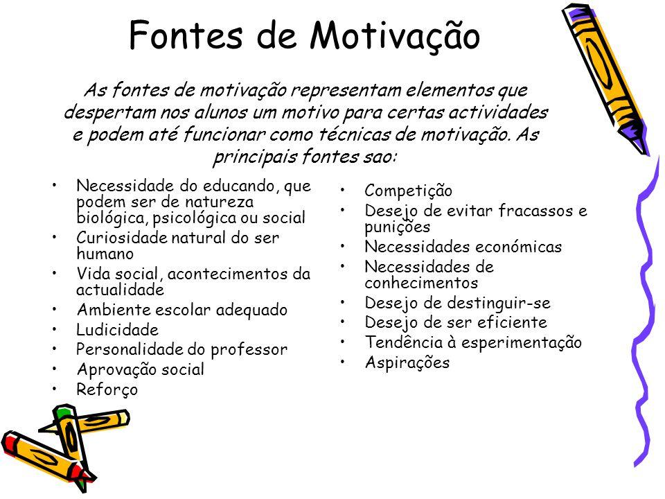 Fontes de Motivação As fontes de motivação representam elementos que despertam nos alunos um motivo para certas actividades e podem até funcionar como