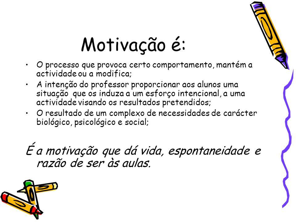 Motivação é: O processo que provoca certo comportamento, mantém a actividade ou a modifica; A intenção do professor proporcionar aos alunos uma situaç