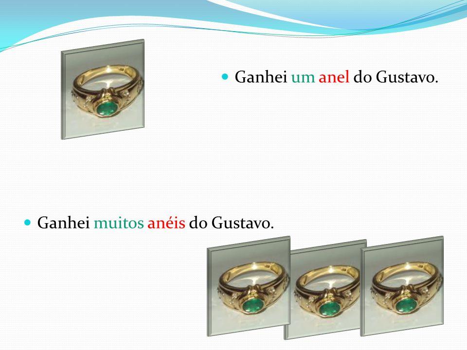 Ganhei um anel do Gustavo. Ganhei muitos anéis do Gustavo.