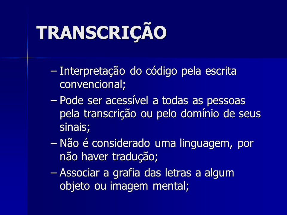 TRANSCRIÇÃO –Interpretação do código pela escrita convencional; –Pode ser acessível a todas as pessoas pela transcrição ou pelo domínio de seus sinais