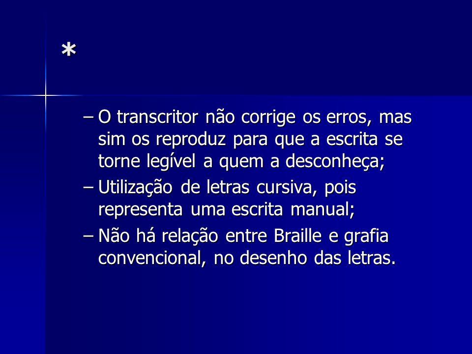 * –O transcritor não corrige os erros, mas sim os reproduz para que a escrita se torne legível a quem a desconheça; –Utilização de letras cursiva, poi