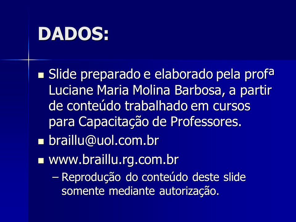 DADOS: Slide preparado e elaborado pela profª Luciane Maria Molina Barbosa, a partir de conteúdo trabalhado em cursos para Capacitação de Professores.