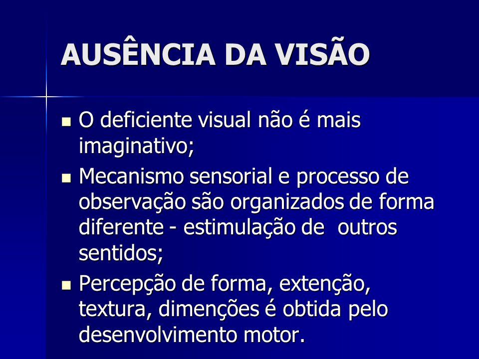 AUSÊNCIA DA VISÃO O deficiente visual não é mais imaginativo; O deficiente visual não é mais imaginativo; Mecanismo sensorial e processo de observação