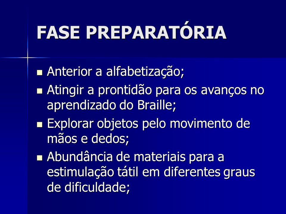 FASE PREPARATÓRIA Anterior a alfabetização; Anterior a alfabetização; Atingir a prontidão para os avanços no aprendizado do Braille; Atingir a prontid
