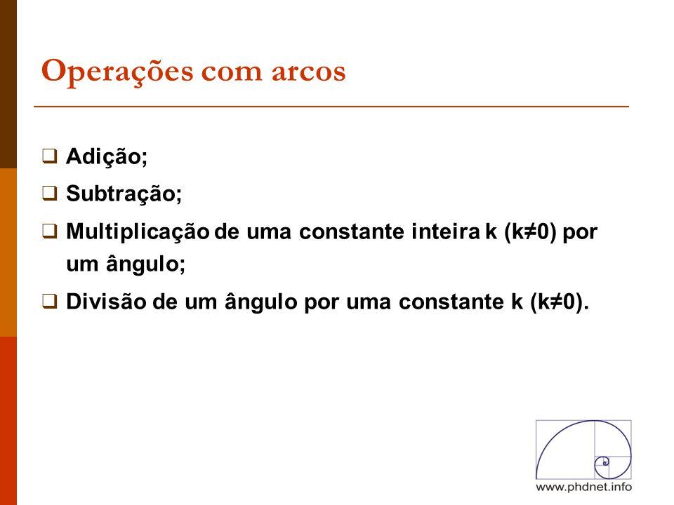 Operações com arcos  Adição;  Subtração;  Multiplicação de uma constante inteira k (k≠0) por um ângulo;  Divisão de um ângulo por uma constante k