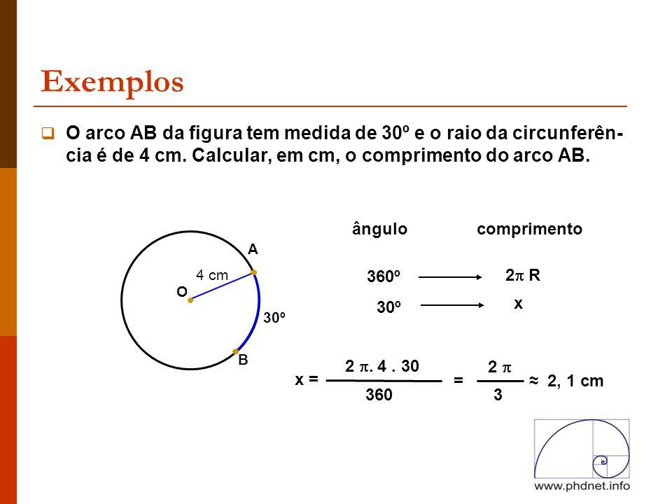 Exemplos B 30º  O arco AB da figura tem medida de 30º e o raio da circunferên- cia é de 4 cm. Calcular, em cm, o comprimento do arco AB. O A 4 cm âng