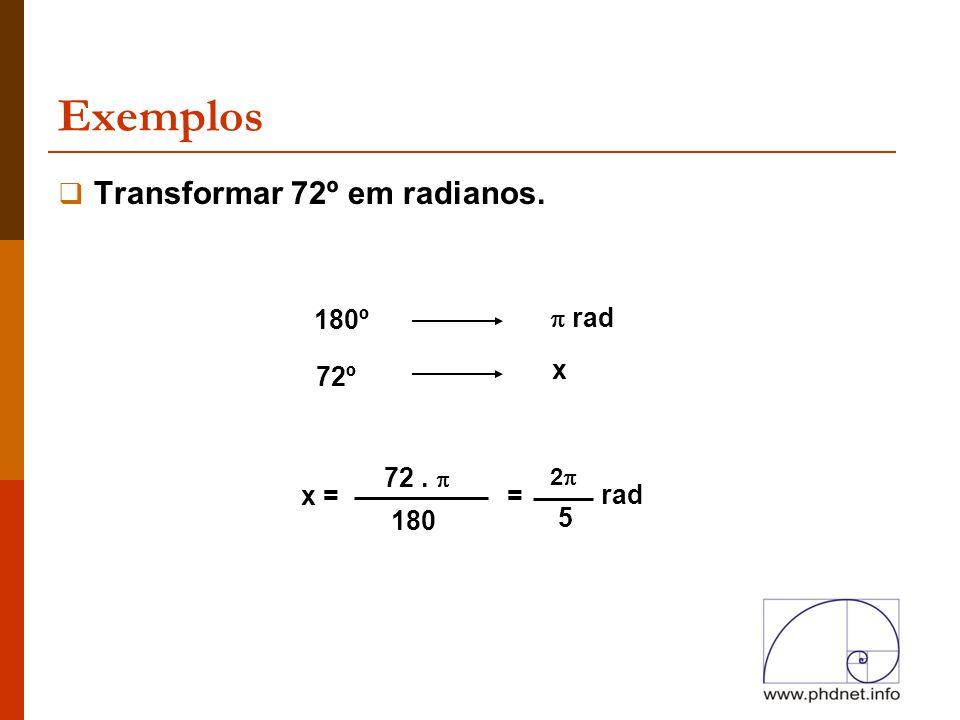 Exemplos  Transformar 72º em radianos. 180º  rad 72º x x = 72.  180 = 22 5 rad
