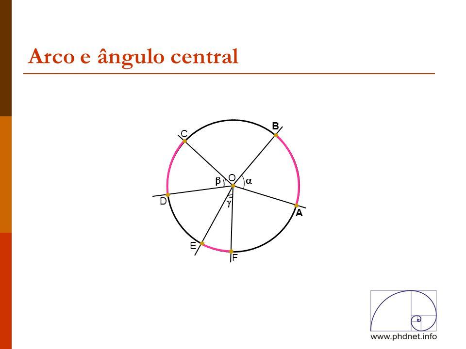 Arco e ângulo central A B O C  D E F  