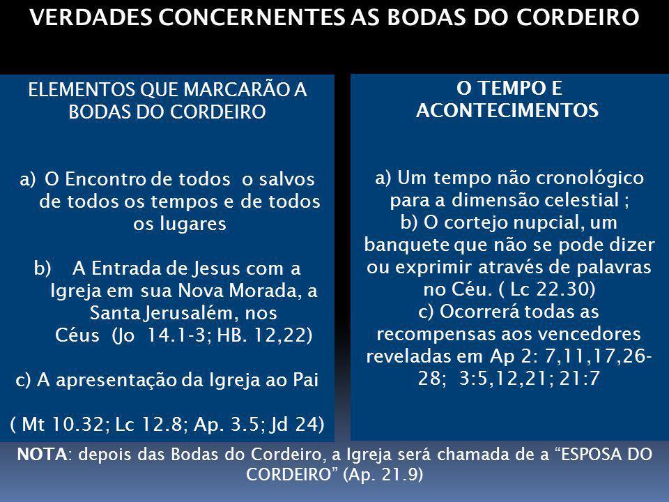 VERDADES CONCERNENTES AS BODAS DO CORDEIRO O TEMPO E ACONTECIMENTOS a) Um tempo não cronológico para a dimensão celestial ; b) O cortejo nupcial, um b