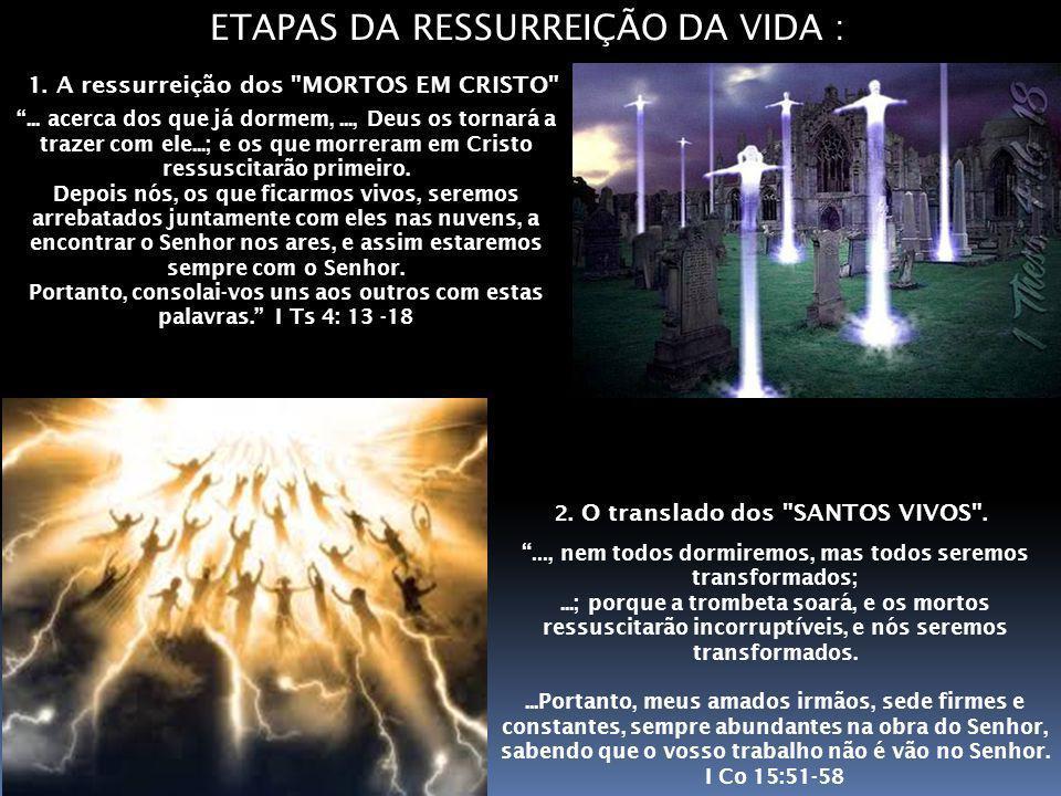 ETAPAS DA RESSURREIÇÃO DA VIDA : 2.O translado dos SANTOS VIVOS .