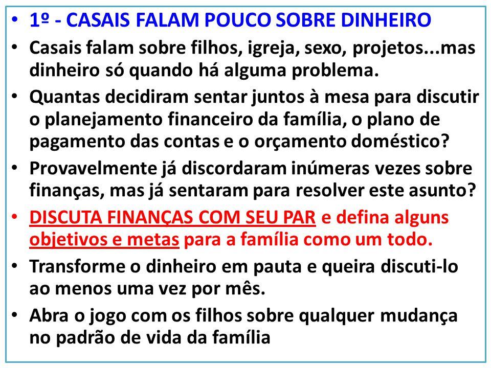 1º - CASAIS FALAM POUCO SOBRE DINHEIRO Casais falam sobre filhos, igreja, sexo, projetos...mas dinheiro só quando há alguma problema. Quantas decidira