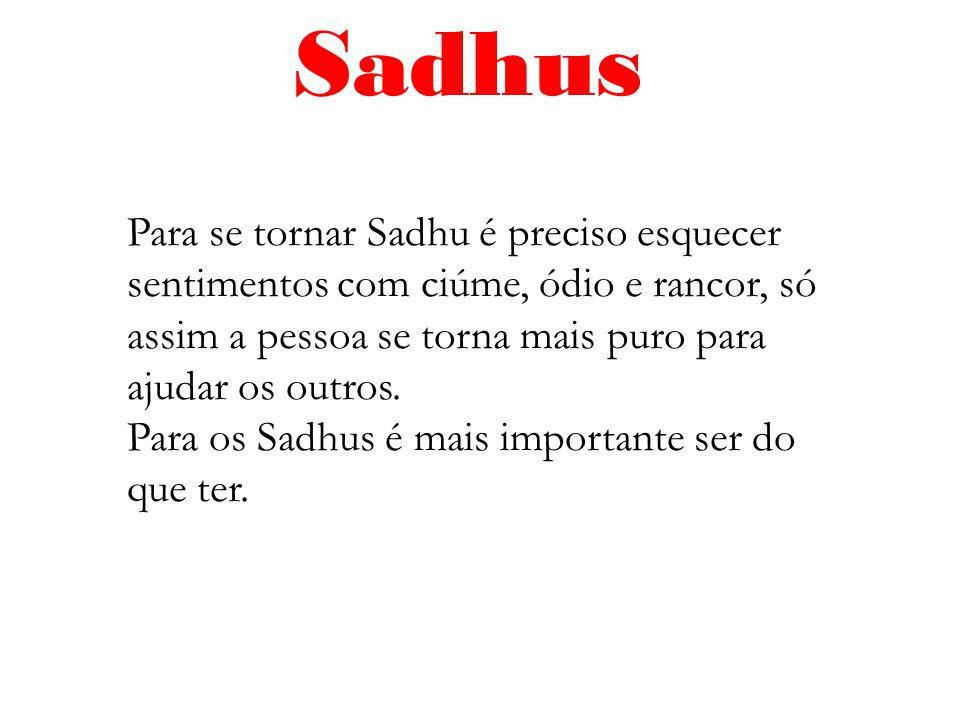 Para se tornar Sadhu é preciso esquecer sentimentos com ciúme, ódio e rancor, só assim a pessoa se torna mais puro para ajudar os outros. Para os Sadh