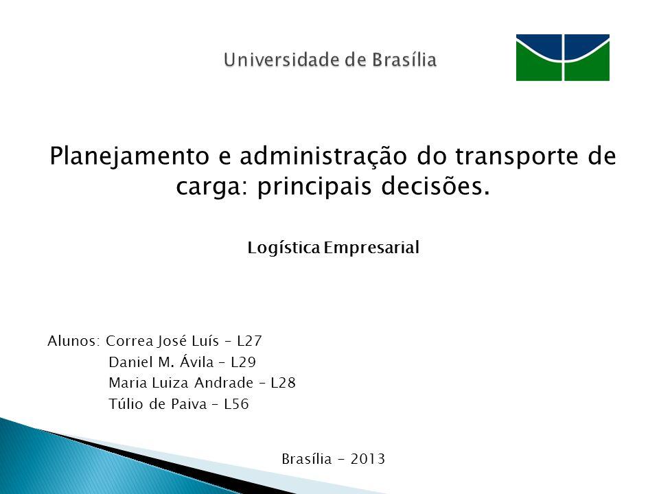 Planejamento e administração do transporte de carga: principais decisões.