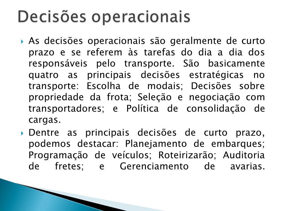  As decisões operacionais são geralmente de curto prazo e se referem às tarefas do dia a dia dos responsáveis pelo transporte.