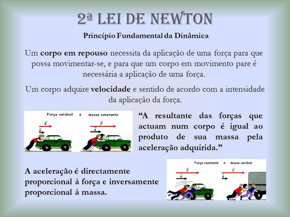 2ª Lei de newton Princípio Fundamental da Dinâmica Um corpo em repouso necessita da aplicação de uma força para que possa movimentar-se, e para que um
