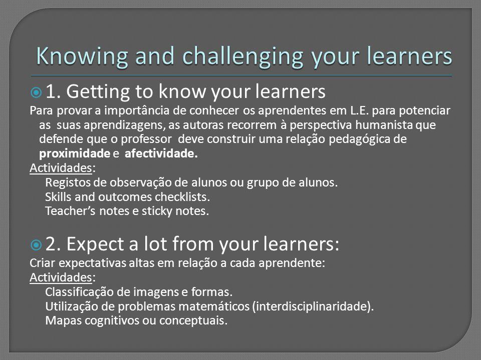  1.Getting to know your learners Para provar a importância de conhecer os aprendentes em L.E.