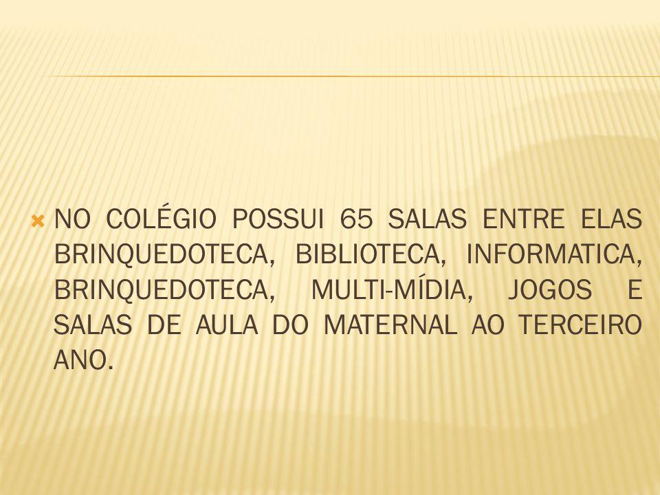  NO COLÉGIO POSSUI 65 SALAS ENTRE ELAS BRINQUEDOTECA, BIBLIOTECA, INFORMATICA, BRINQUEDOTECA, MULTI-MÍDIA, JOGOS E SALAS DE AULA DO MATERNAL AO TERCEIRO ANO.