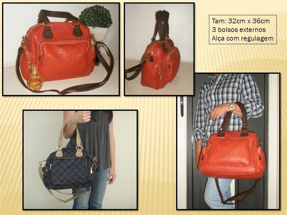 Tam: 32cm x 36cm 3 bolsos externos Alça com regulagem