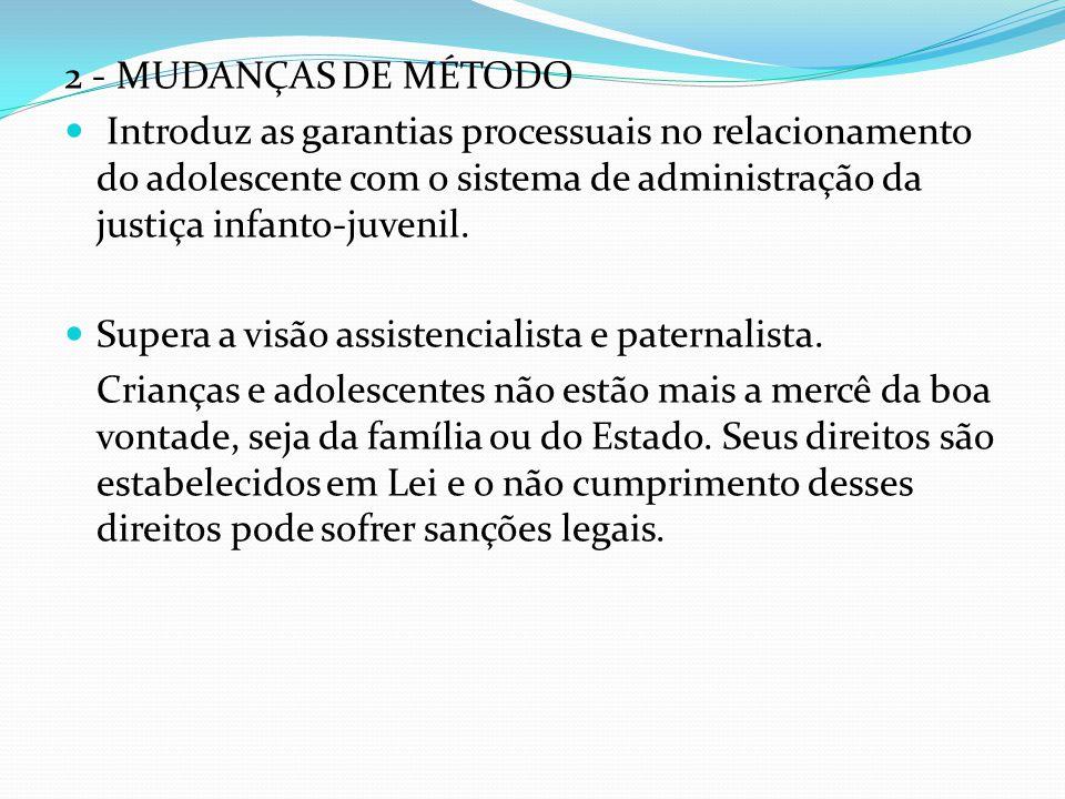 2 - MUDANÇAS DE MÉTODO Introduz as garantias processuais no relacionamento do adolescente com o sistema de administração da justiça infanto-juvenil.