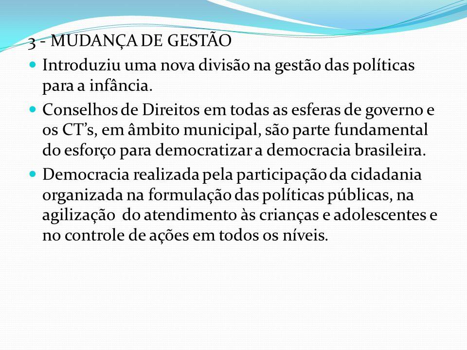 3 - MUDANÇA DE GESTÃO Introduziu uma nova divisão na gestão das políticas para a infância.