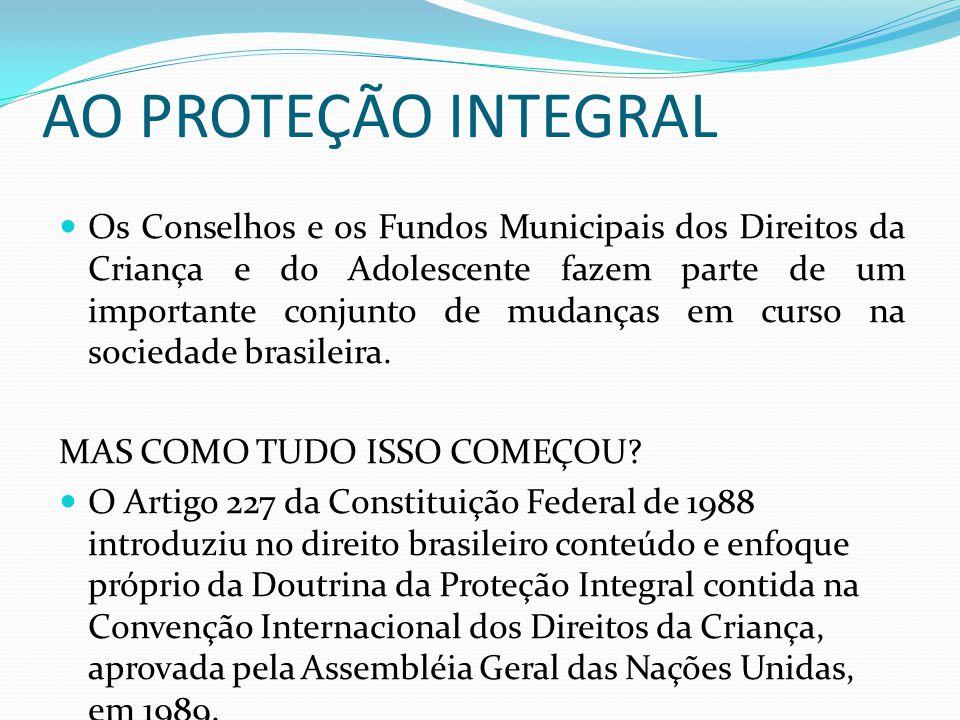 AO PROTEÇÃO INTEGRAL Os Conselhos e os Fundos Municipais dos Direitos da Criança e do Adolescente fazem parte de um importante conjunto de mudanças em curso na sociedade brasileira.