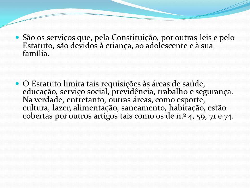 São os serviços que, pela Constituição, por outras leis e pelo Estatuto, são devidos à criança, ao adolescente e à sua família.