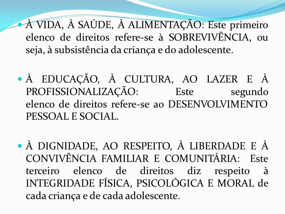À VIDA, À SAÚDE, À ALIMENTAÇÃO: Este primeiro elenco de direitos refere-se à SOBREVIVÊNCIA, ou seja, à subsistência da criança e do adolescente.