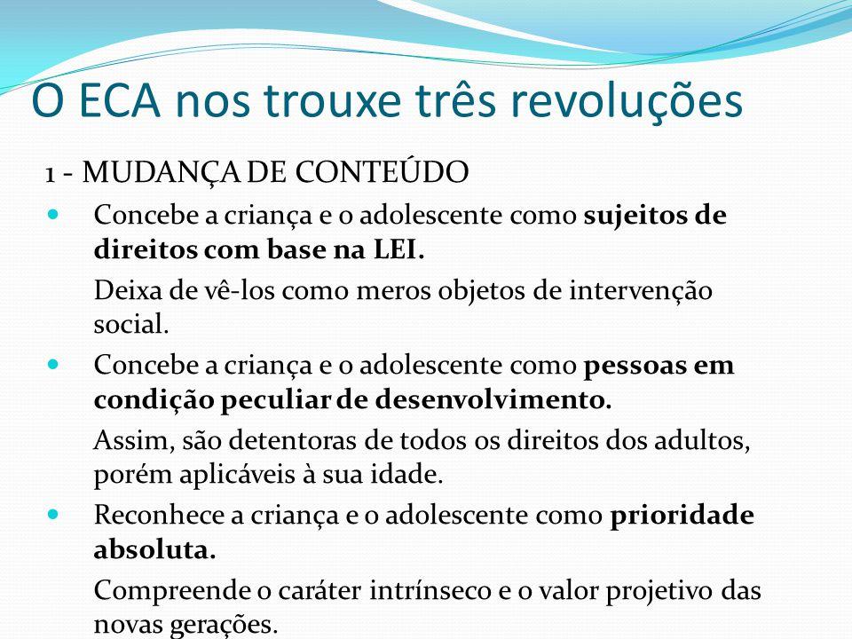 O ECA nos trouxe três revoluções 1 - MUDANÇA DE CONTEÚDO Concebe a criança e o adolescente como sujeitos de direitos com base na LEI.