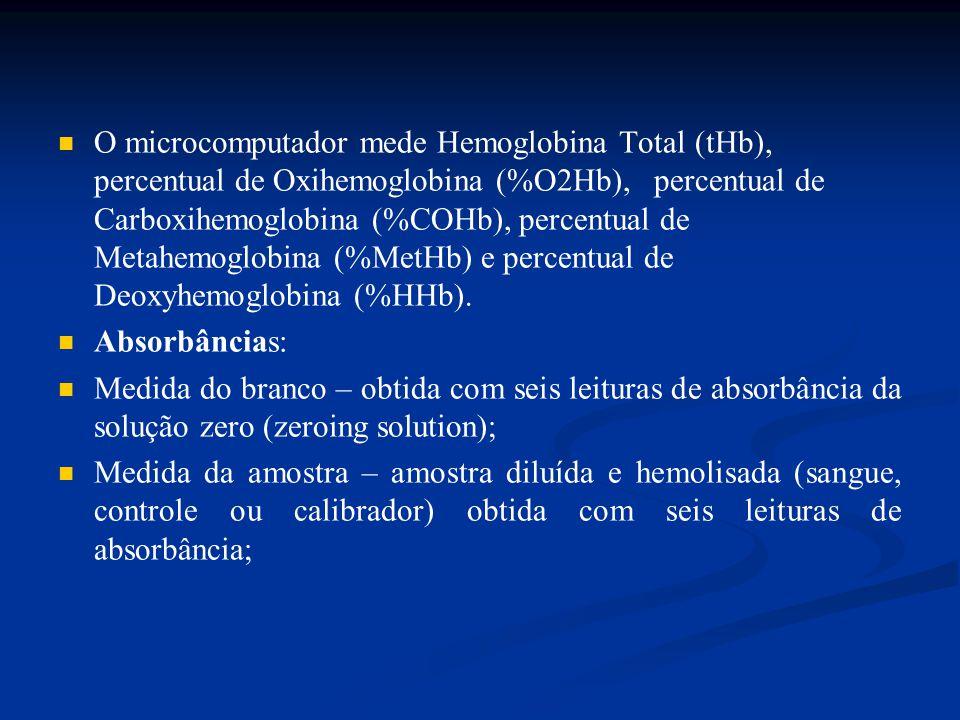 Cálculo da absorbância – As seis absorbâncias do branco são subtraídas das seis absorbâncias obtidas para a amostra: A(NET) = A(SAMPLE) – A(BLANK) Onde A = abs obtida em cada comprimento de onda Cálculo da concentração: È calculado através da concentração fracional de várias hemoglobinas presentes na amostra: A  = K  1C1+  2C2+  3C3+......