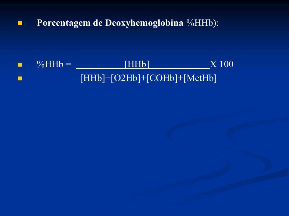 Porcentagem de Deoxyhemoglobina %HHb): %HHb =  HHb  X 100  HHb  +  O2Hb  +  COHb  +  MetHb 