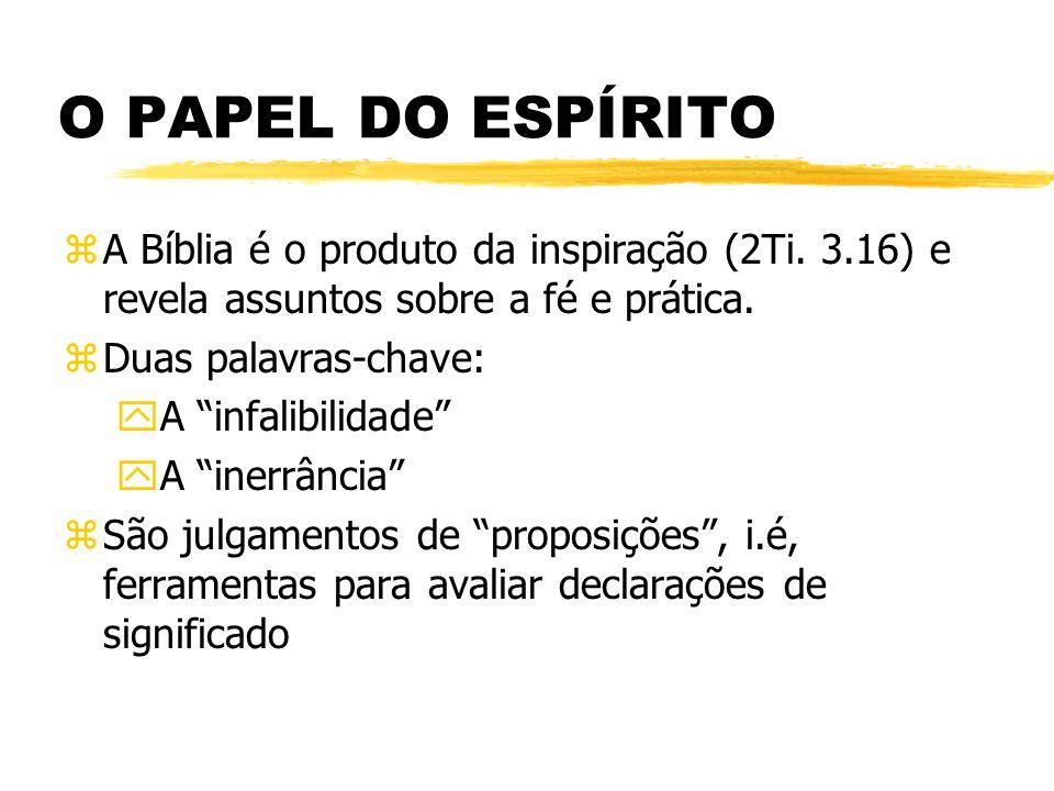 O PAPEL DO ESPÍRITO zA Bíblia é o produto da inspiração (2Ti.