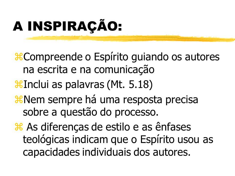 A INSPIRAÇÃO: zCompreende o Espírito guiando os autores na escrita e na comunicação zInclui as palavras (Mt.