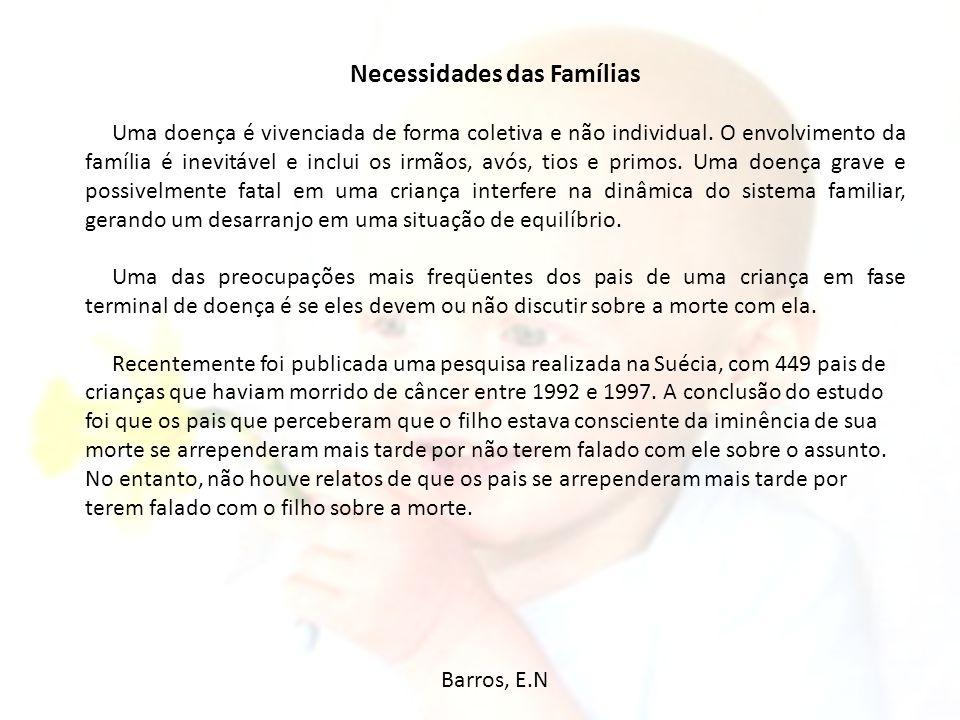 Necessidades das Famílias Uma doença é vivenciada de forma coletiva e não individual. O envolvimento da família é inevitável e inclui os irmãos, avós,