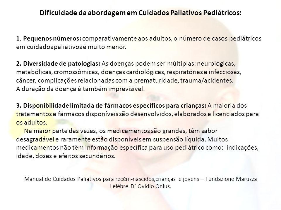 Dificuldade da abordagem em Cuidados Paliativos Pediátricos: 1. Pequenos números: comparativamente aos adultos, o número de casos pediátricos em cuida