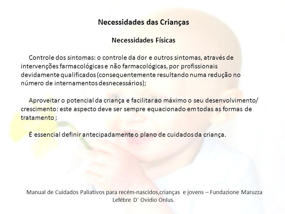 Necessidades das Crianças Necessidades Físicas Controle dos sintomas: o controle da dor e outros sintomas, através de intervenções farmacológicas e nã