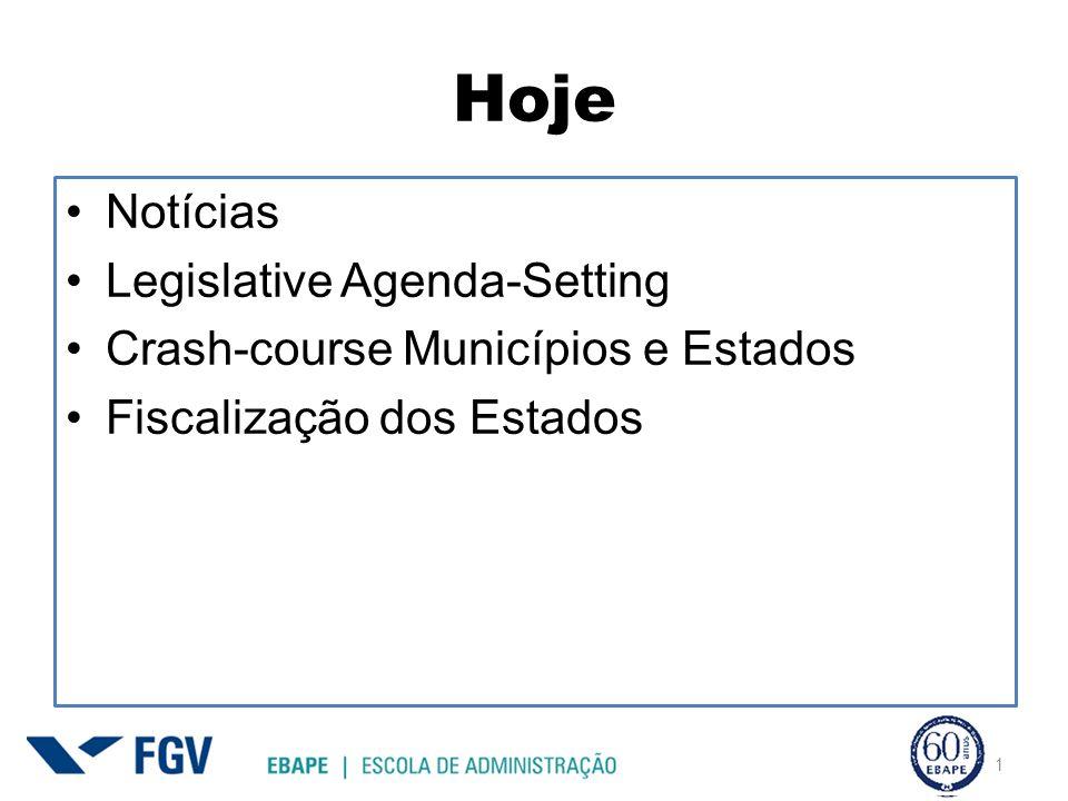 Hoje 1 Notícias Legislative Agenda-Setting Crash-course Municípios e Estados Fiscalização dos Estados