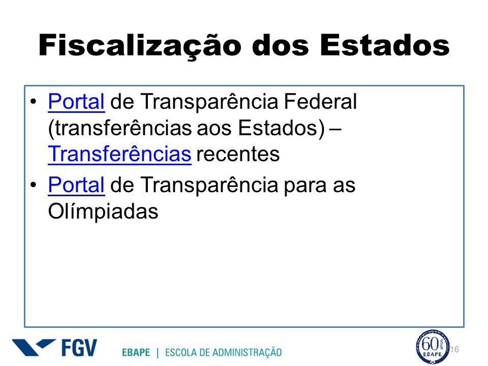 Fiscalização dos Estados Portal de Transparência Federal (transferências aos Estados) – Transferências recentesPortal Transferências Portal de Transparência para as OlímpiadasPortal 16