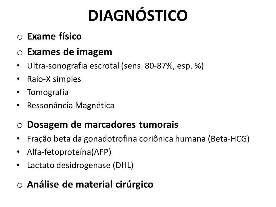 DIAGNÓSTICO o Exame físico o Exames de imagem Ultra-sonografia escrotal (sens. 80-87%, esp. %) Raio-X simples Tomografia Ressonância Magnética o Dosag