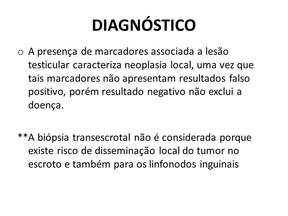 DIAGNÓSTICO o A presença de marcadores associada a lesão testicular caracteriza neoplasia local, uma vez que tais marcadores não apresentam resultados