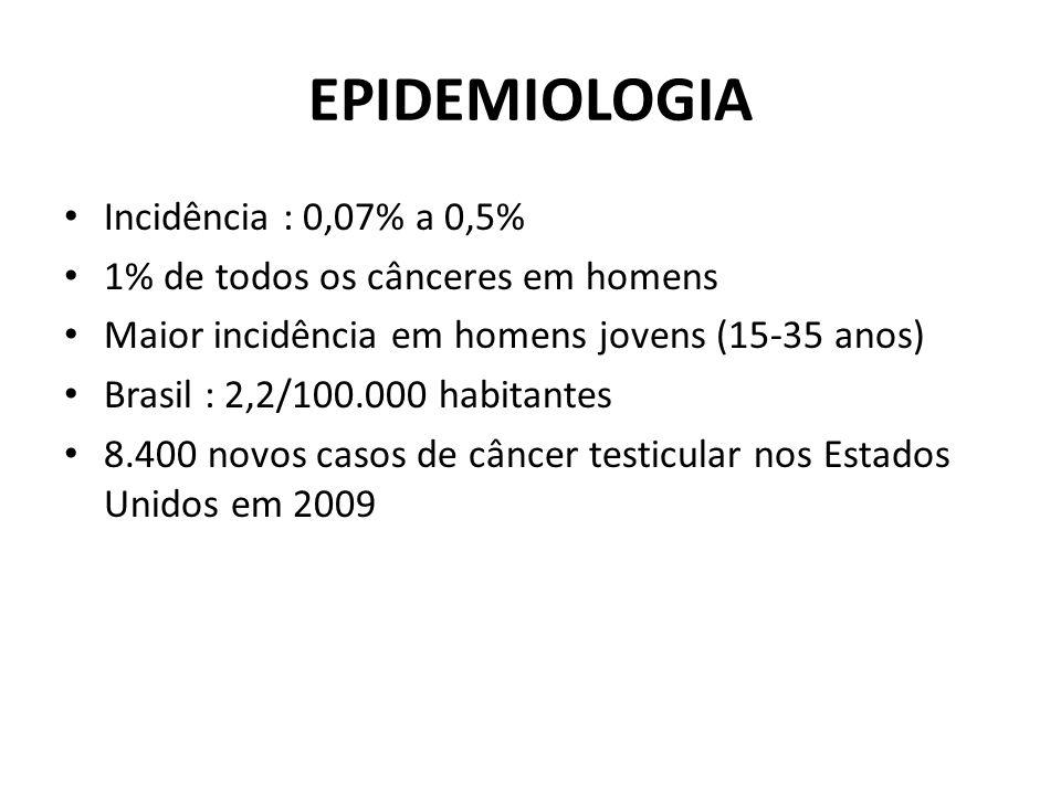 EPIDEMIOLOGIA Incidência : 0,07% a 0,5% 1% de todos os cânceres em homens Maior incidência em homens jovens (15-35 anos) Brasil : 2,2/100.000 habitant