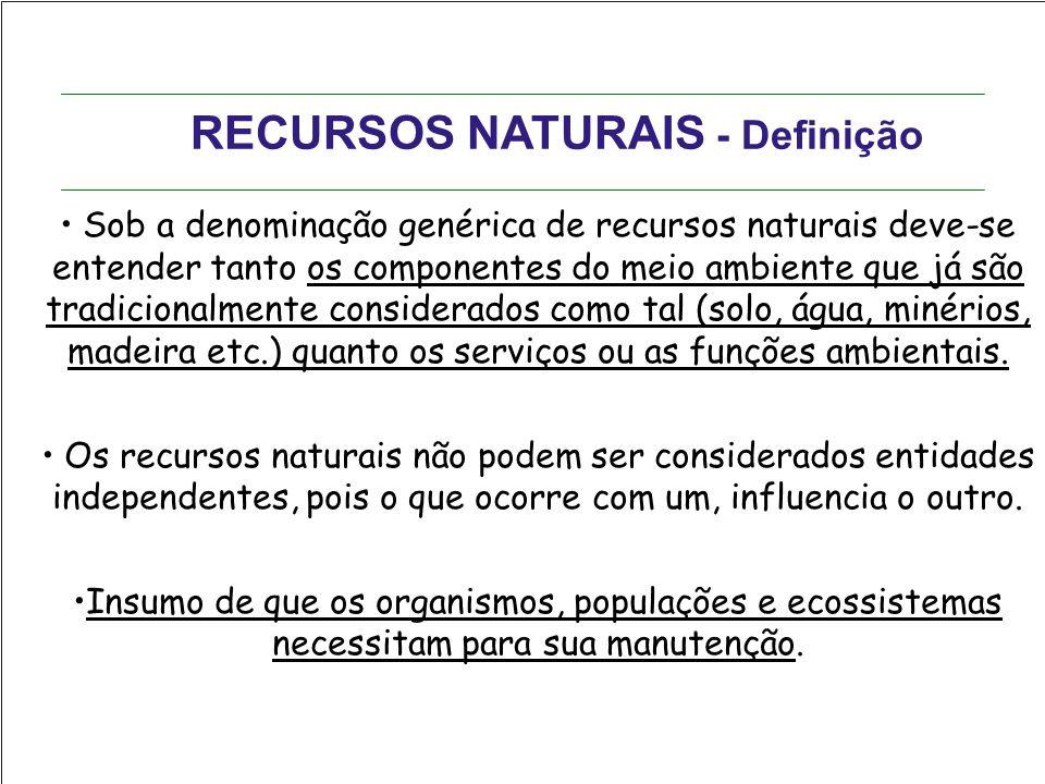RECURSOS NATURAIS - Definição Sob a denominação genérica de recursos naturais deve-se entender tanto os componentes do meio ambiente que já são tradic