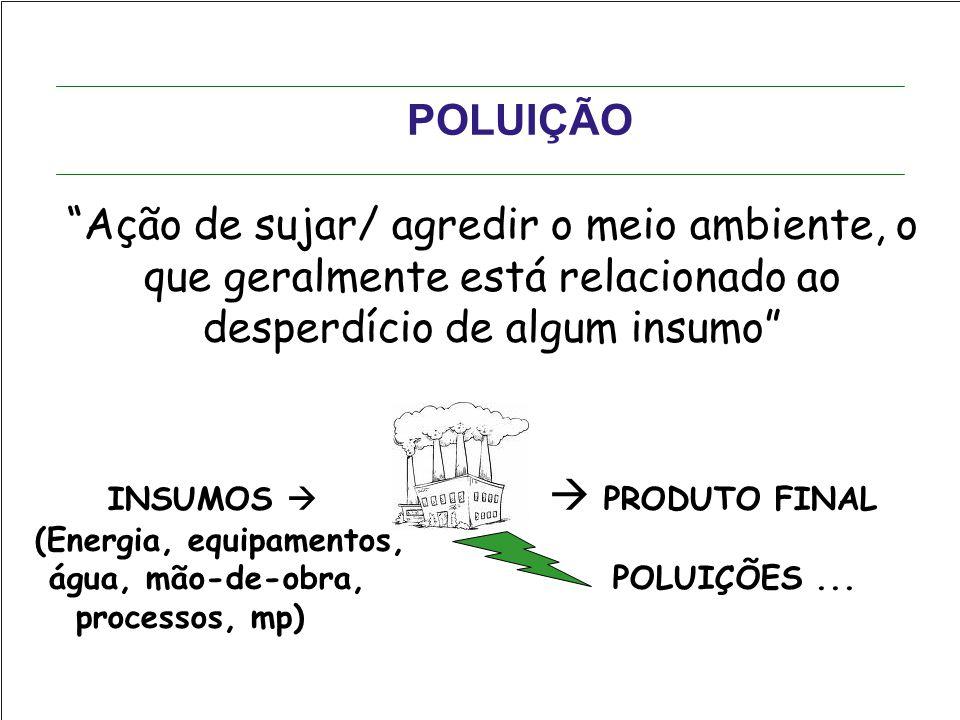 """POLUIÇÃO """"Ação de sujar/ agredir o meio ambiente, o que geralmente está relacionado ao desperdício de algum insumo"""" INSUMOS   PRODUTO FINAL (Energia"""