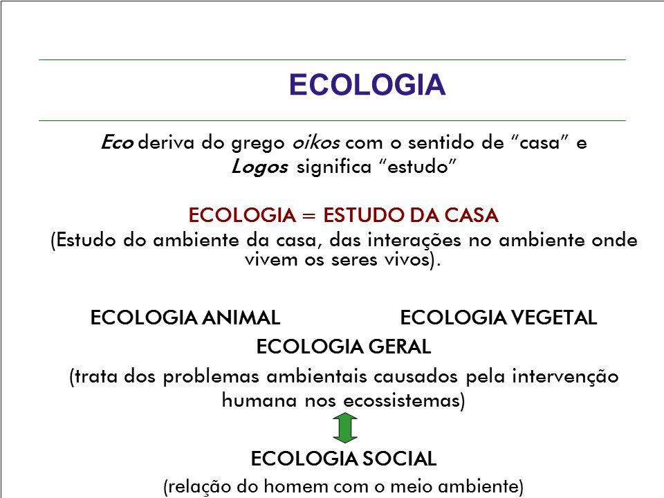 """ECOLOGIA Eco deriva do grego oikos com o sentido de """"casa"""" e Logos significa """"estudo"""" ECOLOGIA = ESTUDO DA CASA (Estudo do ambiente da casa, das inter"""