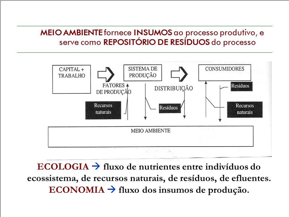 MEIO AMBIENTE fornece INSUMOS ao processo produtivo, e serve como REPOSITÓRIO DE RESÍDUOS do processo ECOLOGIA  fluxo de nutrientes entre indivíduos