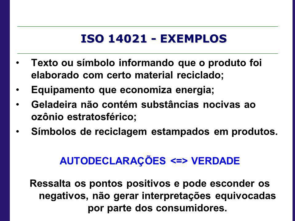 ISO 14021 - EXEMPLOS Texto ou símbolo informando que o produto foi elaborado com certo material reciclado; Equipamento que economiza energia; Geladeir