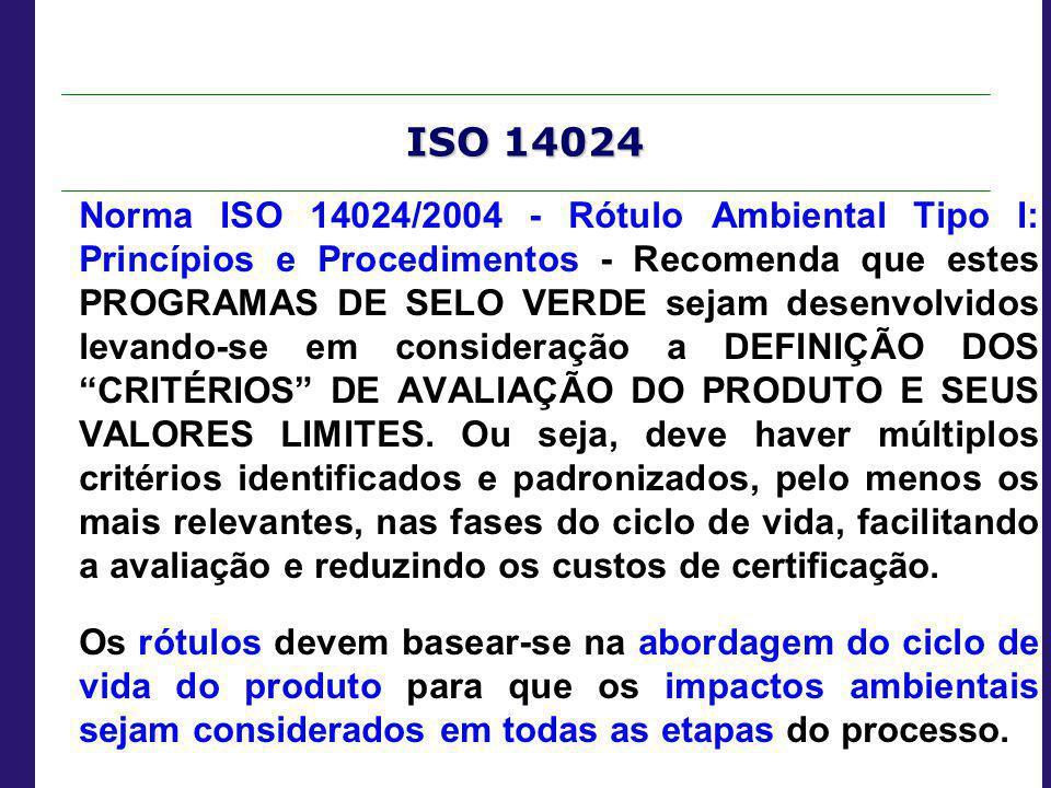 ISO 14024 Norma ISO 14024/2004 - Rótulo Ambiental Tipo I: Princípios e Procedimentos - Recomenda que estes PROGRAMAS DE SELO VERDE sejam desenvolvidos