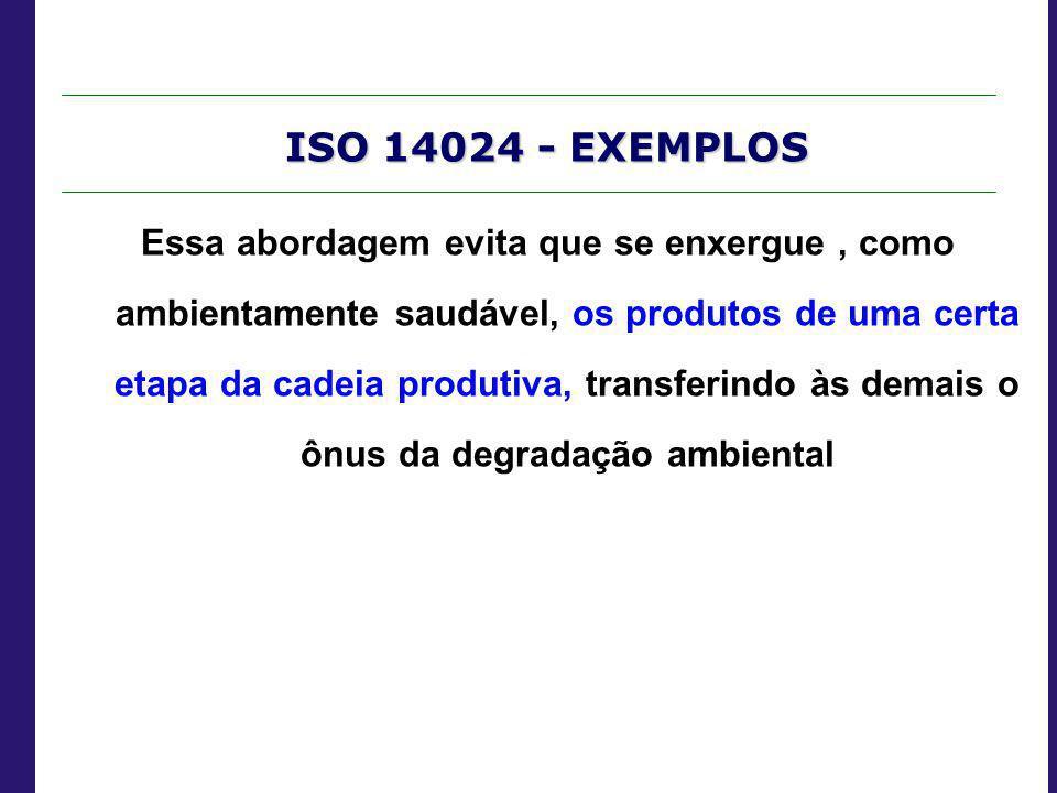 ISO 14024 - EXEMPLOS Essa abordagem evita que se enxergue, como ambientamente saudável, os produtos de uma certa etapa da cadeia produtiva, transferin