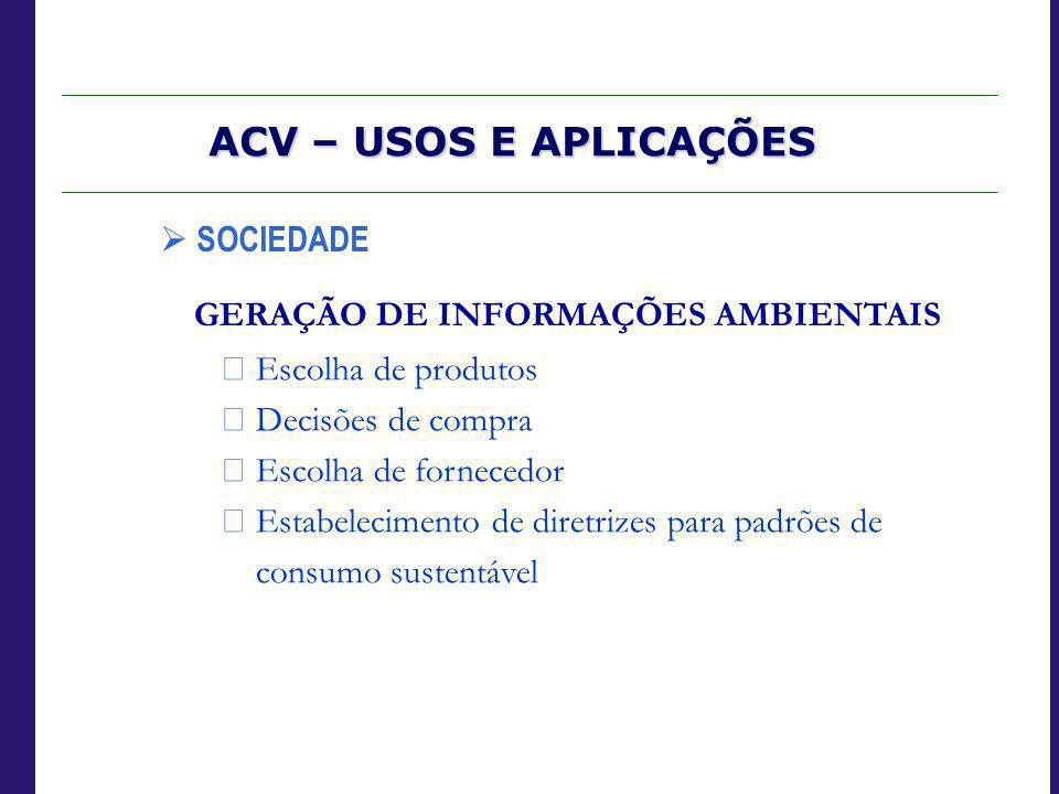 GERAÇÃO DE INFORMAÇÕES AMBIENTAIS  Escolha de produtos  Decisões de compra  Escolha de fornecedor  Estabelecimento de diretrizes para padrões de c